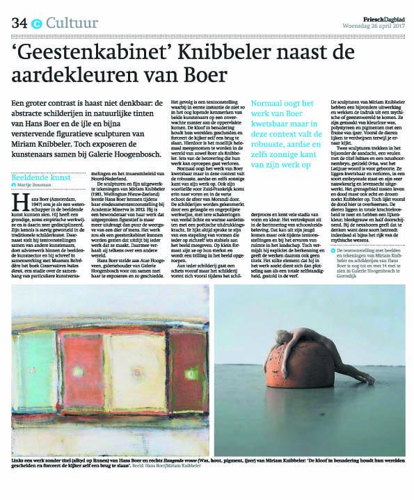 ries Dagblad (Marije Bouman), april 2017, 'Geestenkabinet' Knibbeler naast de aardekleuren van Boer